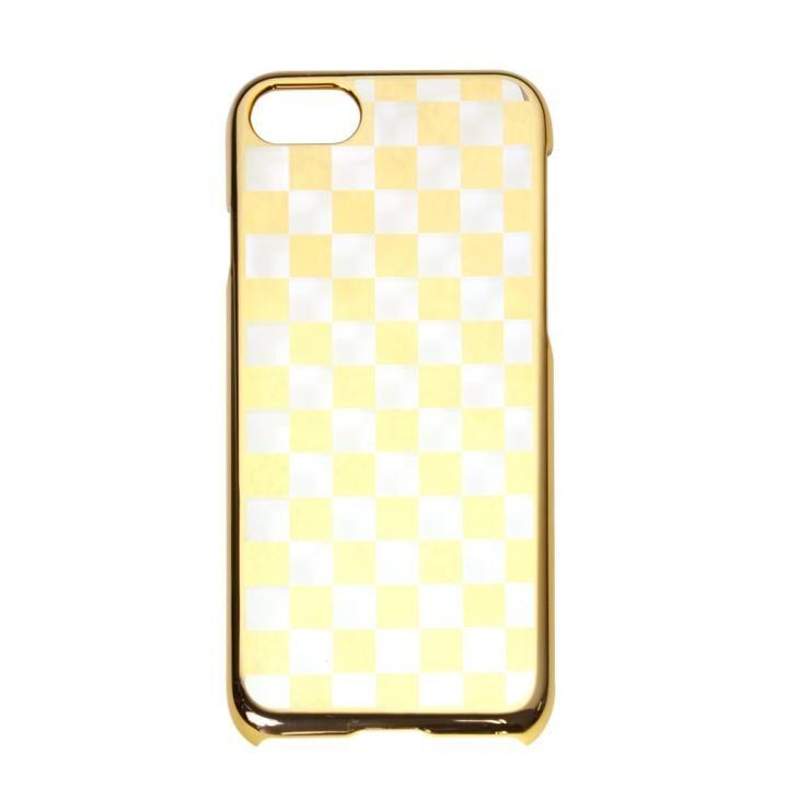 iPhone8/7 ケース gufo メタル調PCケース チェッカード模様 ゴールド iPhone 8/7_0