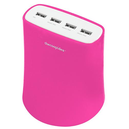 [5.1A USB4ポート充電器 ACアダプター(ピンク)_0