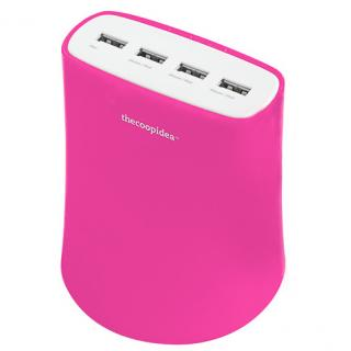 [5.1A USB4ポート充電器 ACアダプター(ピンク)