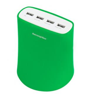 5.1A USB4ポート充電器 ACアダプター(グリーン)
