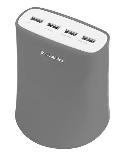 5.1A USB4ポート充電器 ACアダプター(グレー)_0