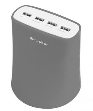 5.1A USB4ポート充電器 ACアダプター(グレー)