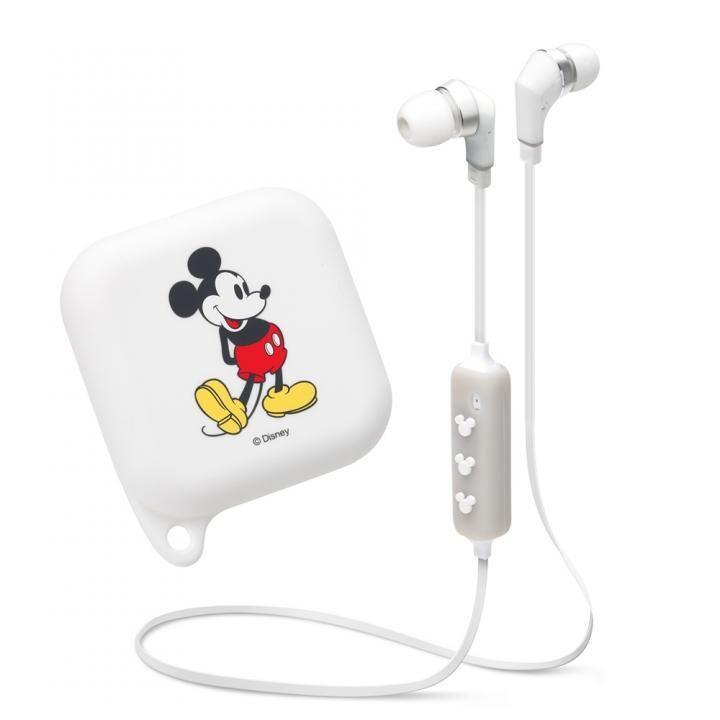 Bluetooth 4.1搭載 ワイヤレス ステレオ イヤホン シリコンポーチ付き ミッキーマウス/ホワイト【12月下旬】_0
