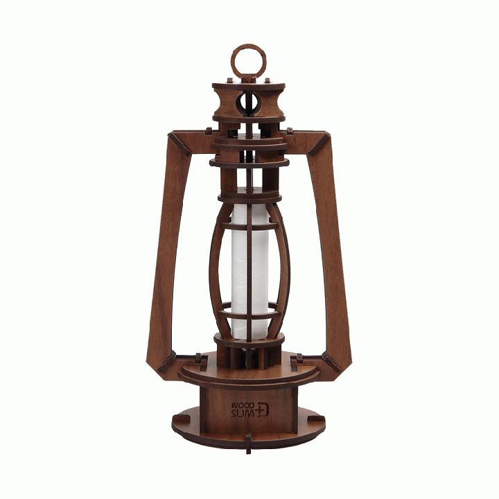 天然木の組み立てキット レトロ LEDランプ/W