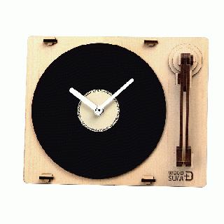 天然木の組み立てキット ターンテーブル時計