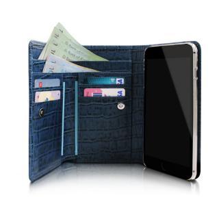手帳型ケース Zenith クロコ型押し本革 ネイビー iPhone 6 Plus