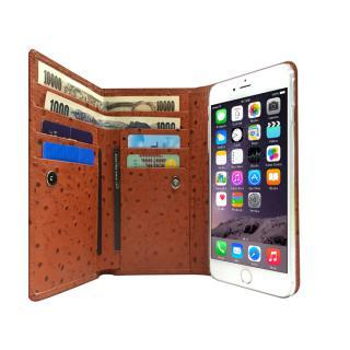 手帳型ケース Zenith オーストリッチ型押し本革 ブラウン iPhone 6 Plus