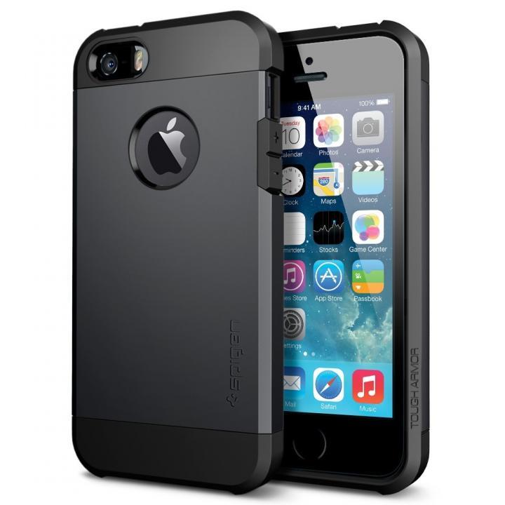 iPhone SE/5s/5 ケース 衝撃吸収性とデザイン性を両立 タフ・アーマー スムース・ブラック iPhone SE/5s/5ケース_0