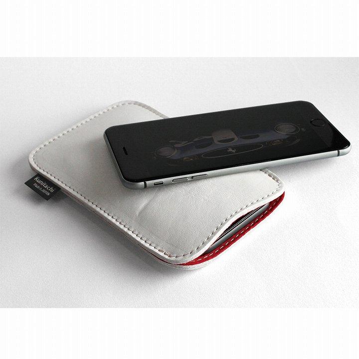 職人が作るオイルドレザースリーブ スノウホワイト×レッド iPhone 6 Plusケース