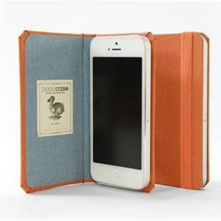 DODOcase 【iPhone SE/5s/5対応ハードカバー 手帳型ケース】 オレンジ/ハーバーブルー