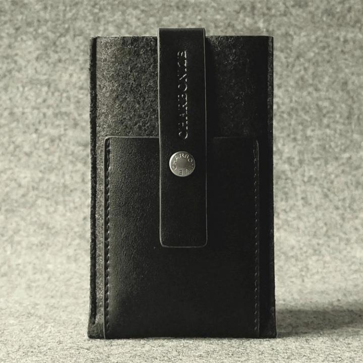 iPhone SE/5s/5 ケース Charbonize レザー & フェルト ケース iPhone SE/5s/5c/5(ウォレットタイプ)(ブラック)_0
