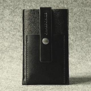 Charbonize レザー & フェルト ケース iPhone SE/5s/5c/5(ウォレットタイプ)(ブラック)