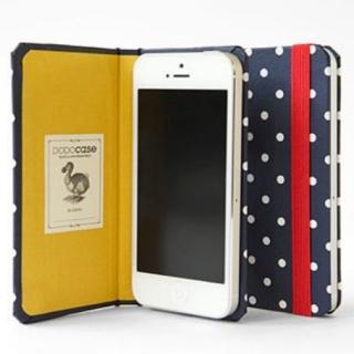 DODOcase 【iPhone SE/5s/5対応ハードカバー 手帳型ケース】ネイビードット/ゴールデン