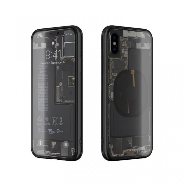 iPhone XS/X ケース EUREKA Translucent 5.8 背面強化ガラスケース ブラック for iPhone XS/X_0