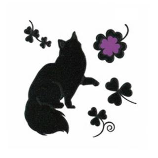 蒔絵シール I LOVE CAT 猫とクローバー
