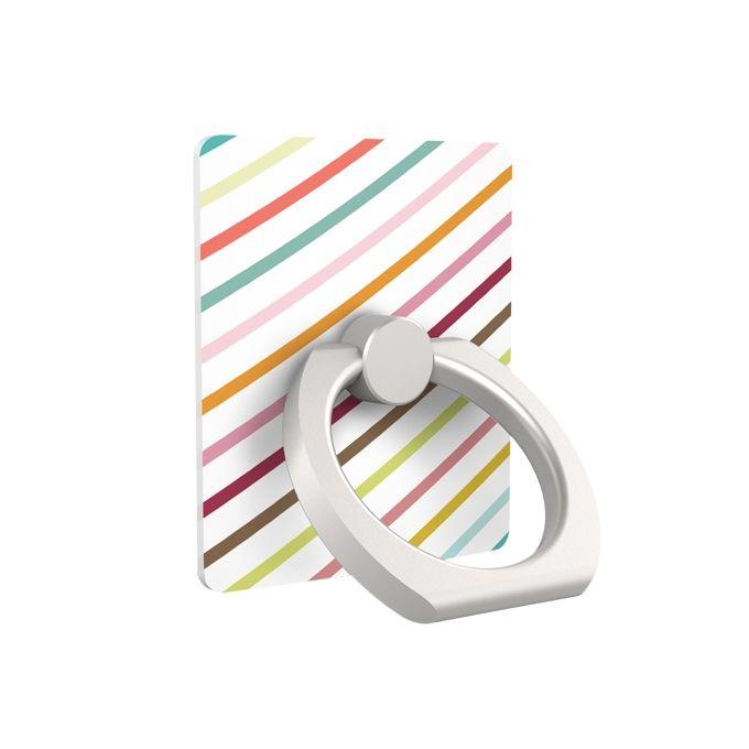 iRing アイリング スマホリング iPhone落下防止リング&スタンド パステルストライプ_0