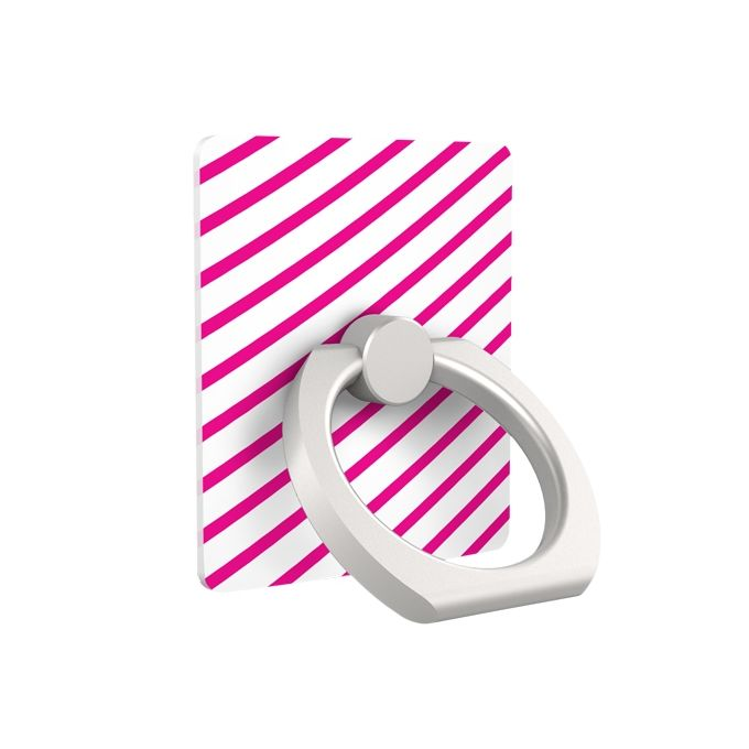 iRing アイリング スマホリング iPhone落下防止リング&スタンド ピンクストライプ_0