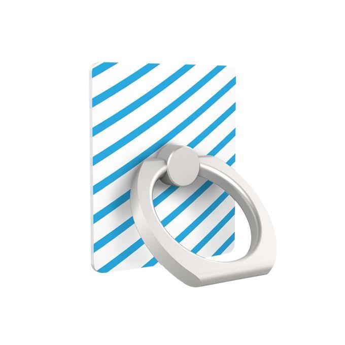 iRing アイリング スマホリング iPhone落下防止リング&スタンド ブルーストライプ_0