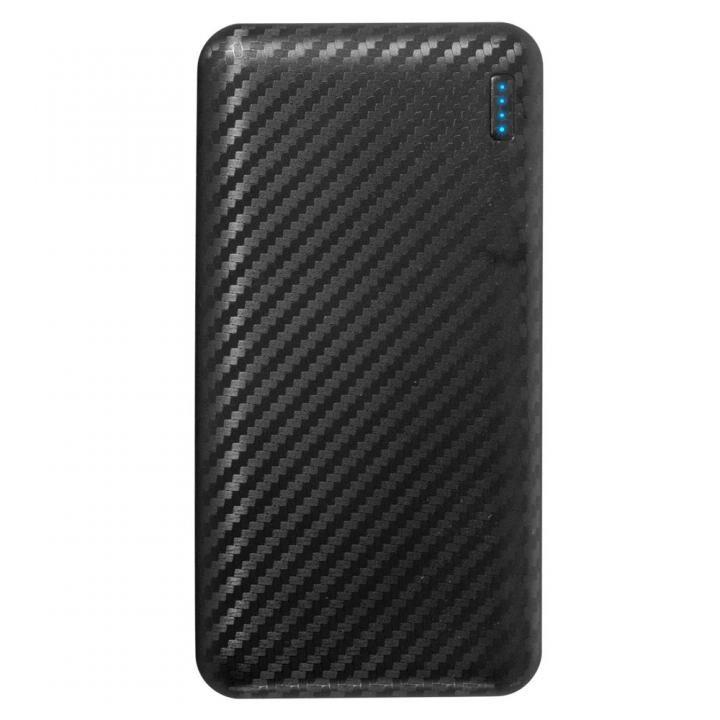 薄くて大容量10,000mAhのSmart IC搭載モバイルバッテリー カーボンブラック_0