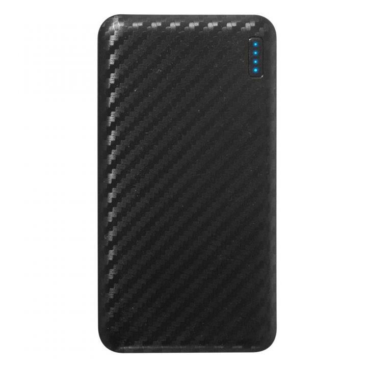 薄くて大容量5,000mAhのSmart IC搭載モバイルバッテリー カーボンブラック_0
