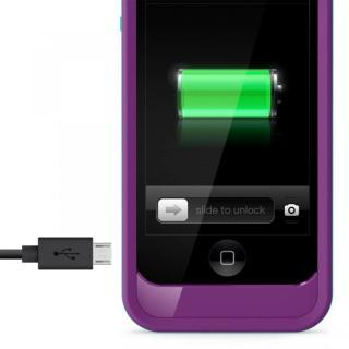 【iPhone SE ケース】iPhone SE/5s/5用充電ケース 2000mAh Grip Power パープル/ファウンテンブルー