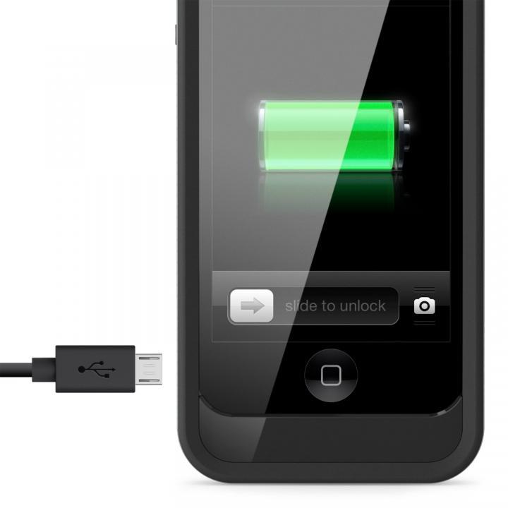 iPhone SE/5s/5用充電ケース 2000mAh グレイ/ブラック