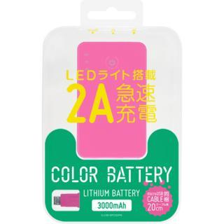 [3000mAh]スマートフォン用リチウムポリマー充電器USBタイプケーブル20cm付2A ピンク