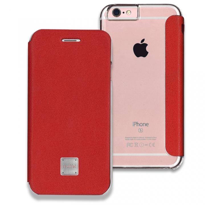 【iPhone6s/6ケース】truffol 背面クリア カウハイドレザー手帳型ケース ローズ・レッド iPhone 6s/6_0