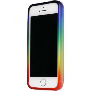 染 iPhone SE/5s/5 TPUバンパー虹