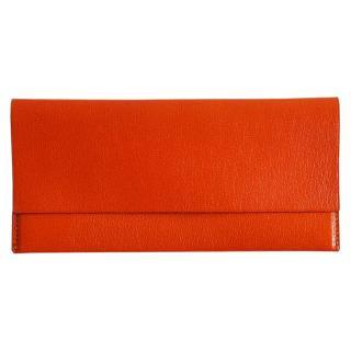 ゴートレザー長財布 オレンジ