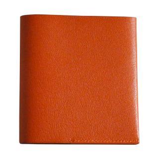 ゴートレザー二つ折り財布 オレンジ