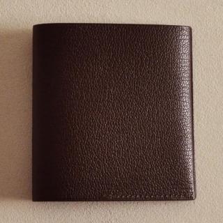 ゴートレザー二つ折り財布 ブラウン