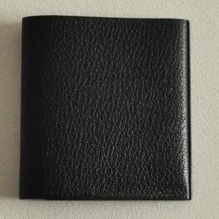 ゴートレザー二つ折り財布 ブラック