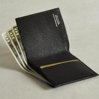 ゴートレザー二つ折り財布 ブラック_2