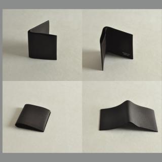 ゴートレザー二つ折り財布 ブラック_3