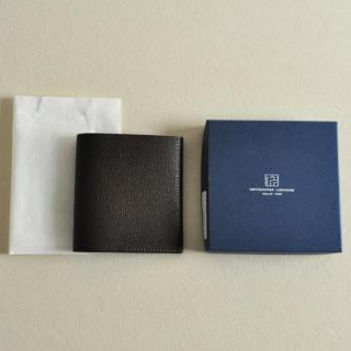 ゴートレザー二つ折り財布 ブラック_5