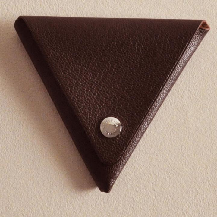 ゴートレザー三角折り小銭入れ ブラウン_0