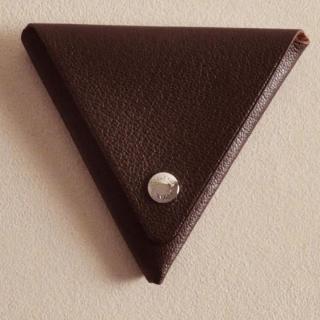 ゴートレザー三角折り小銭入れ ブラウン