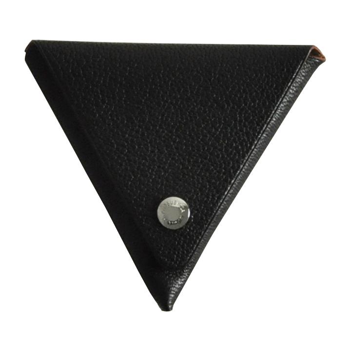 ゴートレザー三角折り小銭入れ ブラック