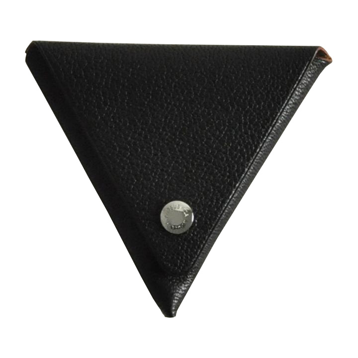 ゴートレザー三角折り小銭入れ ブラック_0