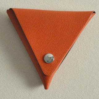 ゴートレザー三角折り小銭入れ オレンジ