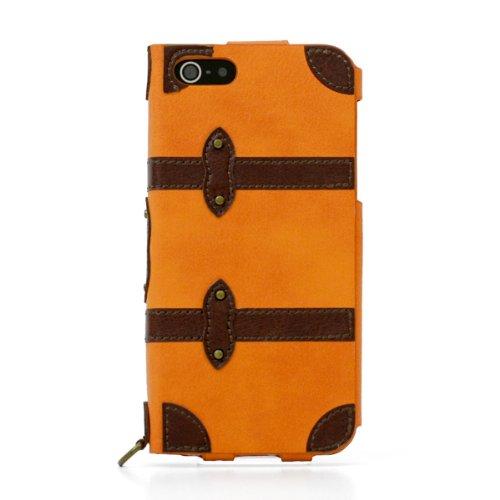 iPhone SE/5s/5 ケース 手帳型PUレザーケース Trolley Case オレンジ iPhone SE/5s/5/5c ケース_0