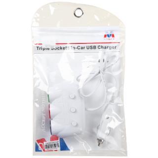MYBAT 車載充電器 USB2ポート トリプルソケット ホワイト_3