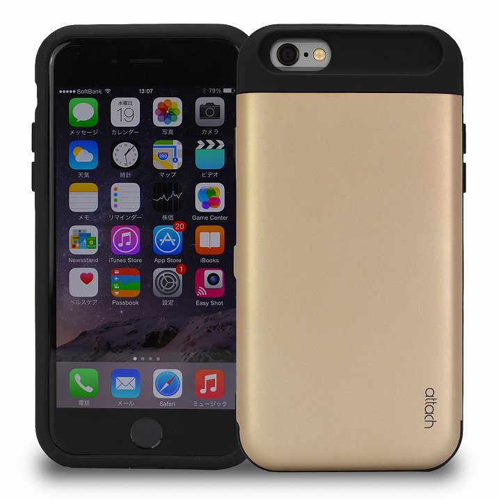 iCash ICカード対応 タフケース ゴールド iPhone 6