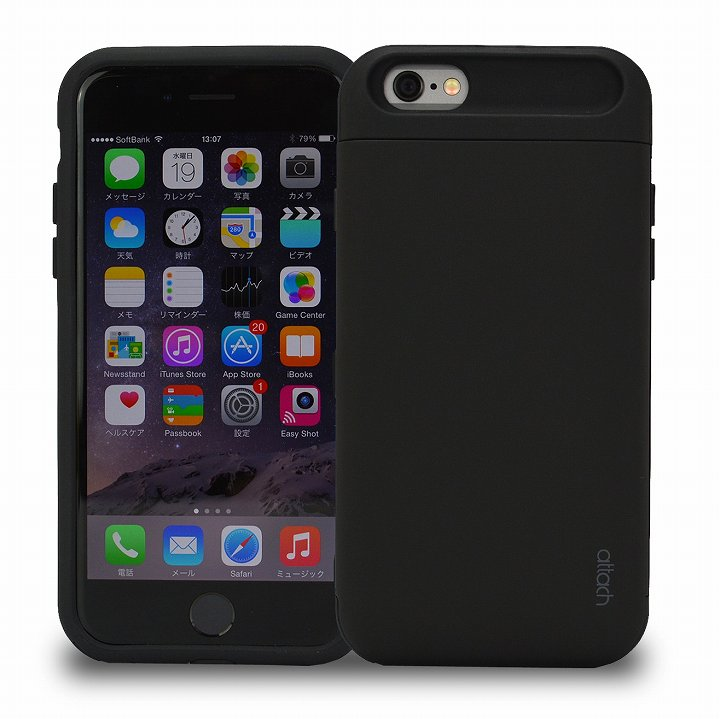 iPhone6s/6 ケース iCash ICカード対応 タフケース ブラック iPhone 6s/6_0