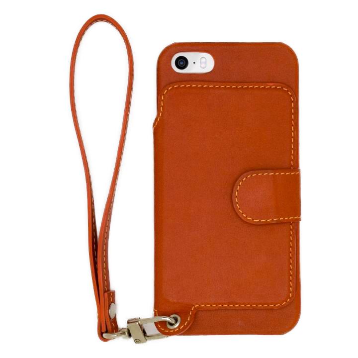 【iPhone SE/5s/5ケース】RAKUNI レザー手帳型ケース with ストラップ キャラメル iPhone SE/5s/5【6月中旬】_0