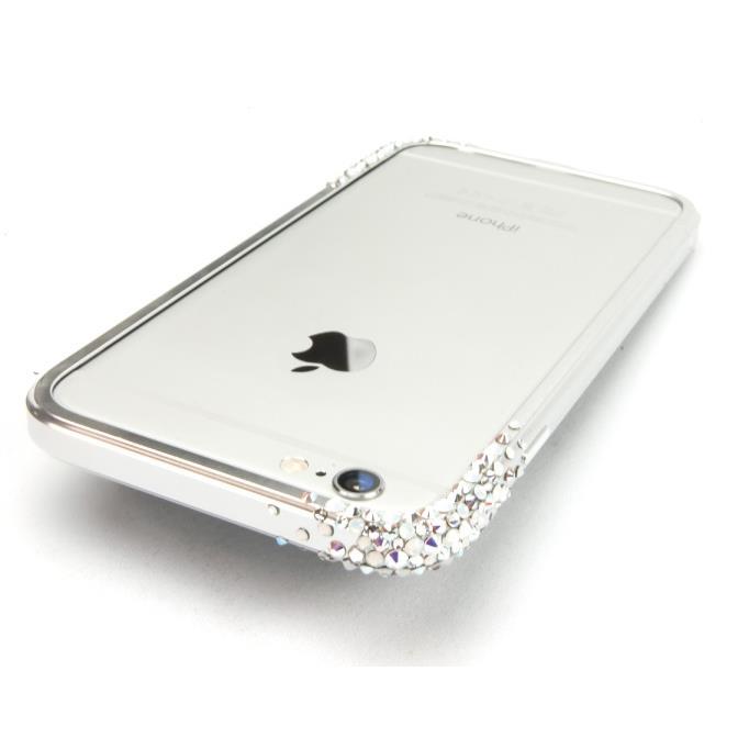iPhone6 ケース SWAROVSKIが施されたアルミバンパー GRAVITY シルバー iPhone 6_0