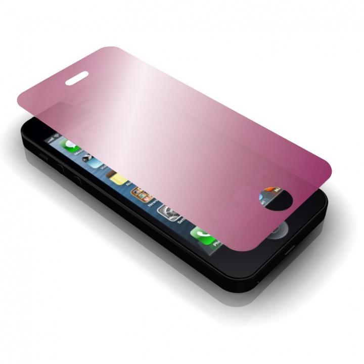 iPhone SE/5s/5 フィルム GRAMAS保護ミラーガラス ピンク iPhone SE/5s/5c/5_0