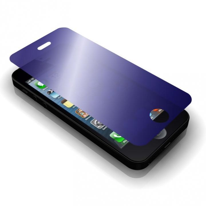 【iPhone SE/5s/5フィルム】【iPhone 5s/5c/5】 (GRAMAS保護ミラーガラス)ブルー_0