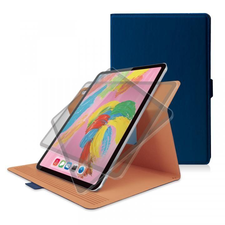 ソフトレザー フラップカバー 360度回転 ブルー iPad Pro 2018 11インチ_0